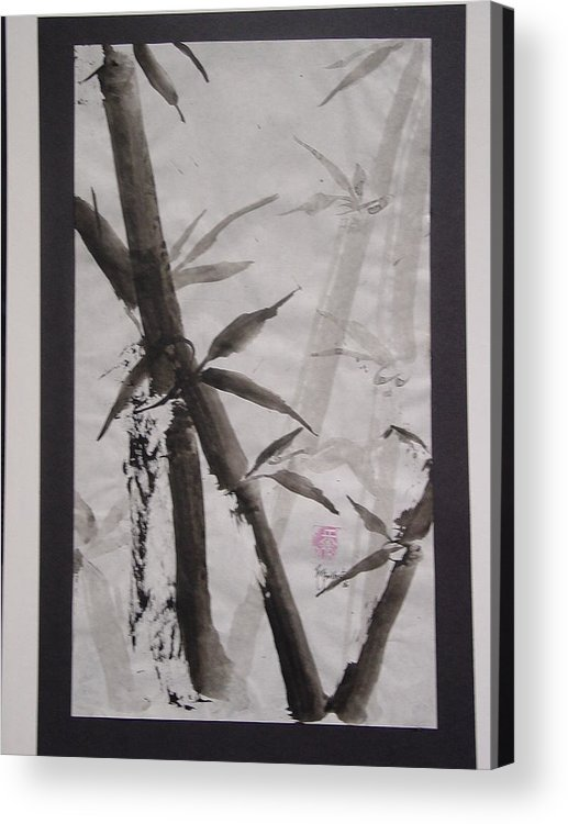 Bamboo Acrylic Print featuring the painting Bamboo by Robin Miller-Bookhout