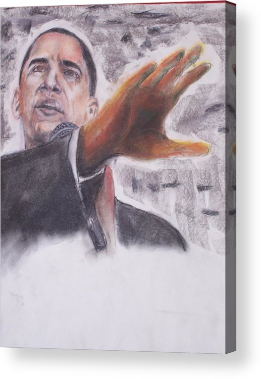 Bararck Acrylic Print featuring the painting Barack Obama by Darryl Hines