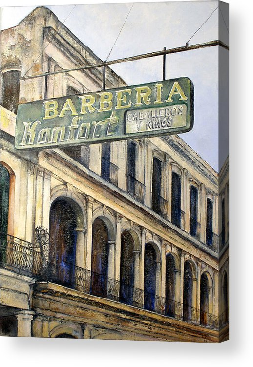 Konfort Barberia Old Havana Cuba Oil Painting Art Urban Cityscape Acrylic Print featuring the painting Barberia Konfort by Tomas Castano