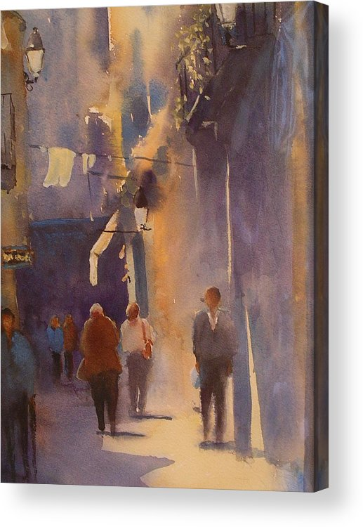 Urban /cityscape21 Acrylic Print featuring the painting Barcelona Shadows by Margaret Kent