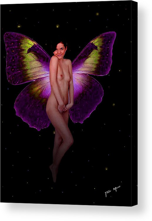 Fairy Acrylic Print featuring the painting Bashful by Tray Mead