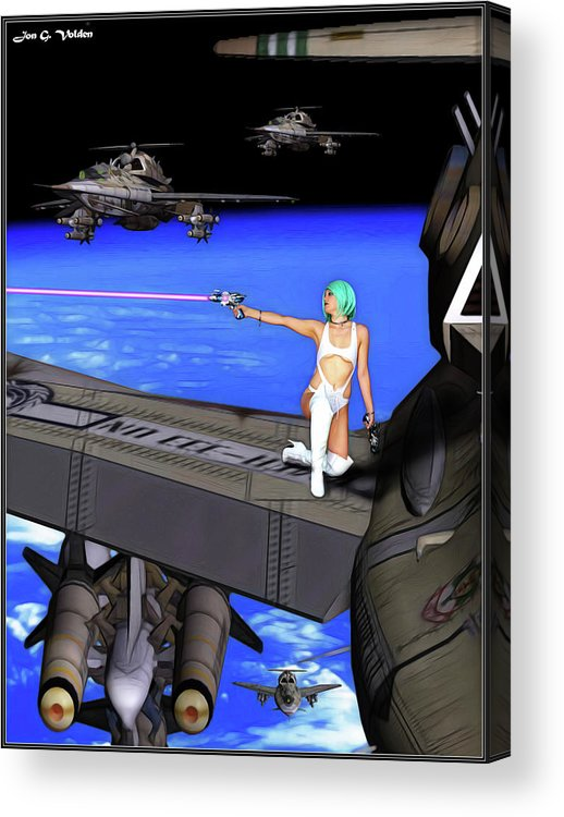 Vixen Acrylic Print featuring the photograph Battle Beyond The Atmosphere by Jon Volden