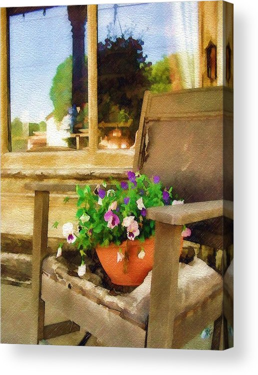 Pansies Acrylic Print featuring the photograph Best Seat In The House by Sandy MacGowan