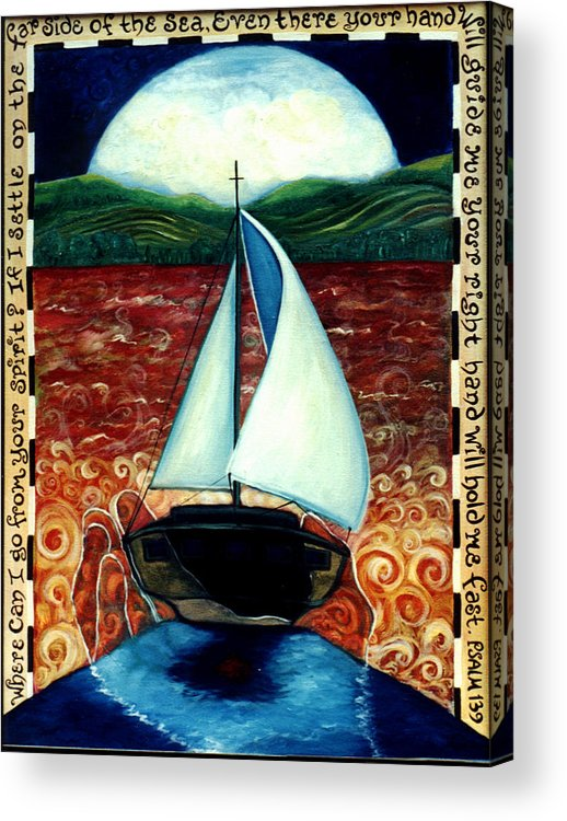 Sailboat Acrylic Print featuring the painting Beyond These Shores by Teresa Carter