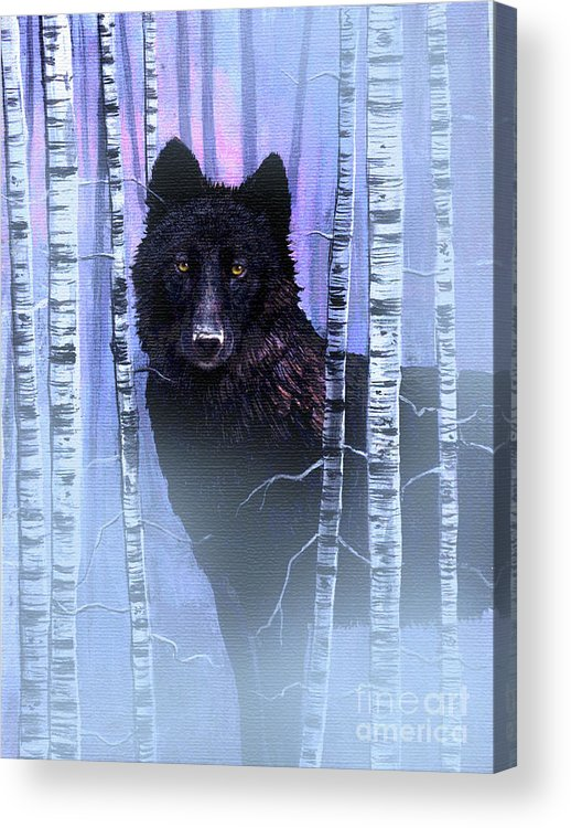 Wolf Acrylic Print featuring the painting Black Prince by Robert Foster