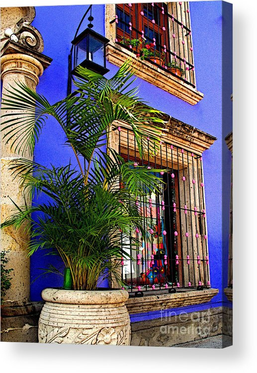 Tlaquepaque Acrylic Print featuring the photograph Blue Casa With Fern by Mexicolors Art Photography