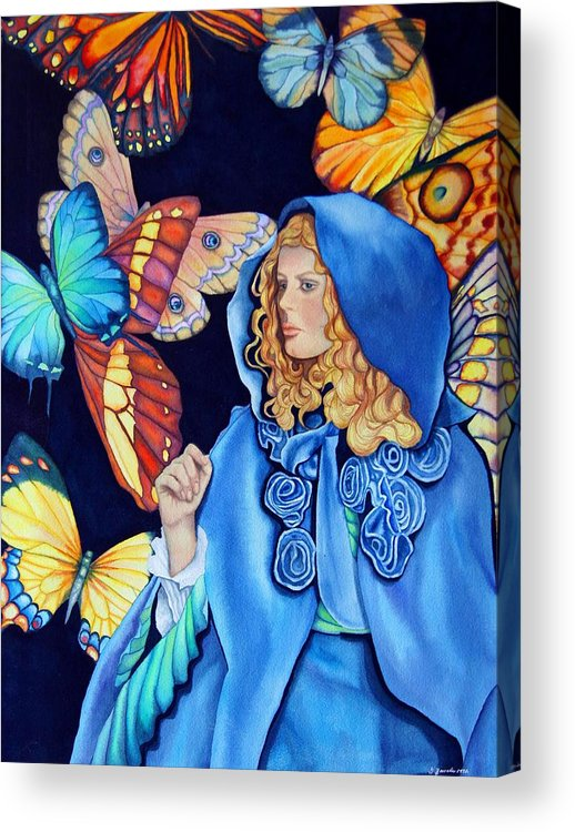 Woman/butterflies/fantasy Acrylic Print featuring the painting Blue Riding Hood by Gail Zavala