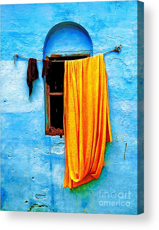Wall Acrylic Print featuring the photograph Blue Wall With Orange Sari by Derek Selander