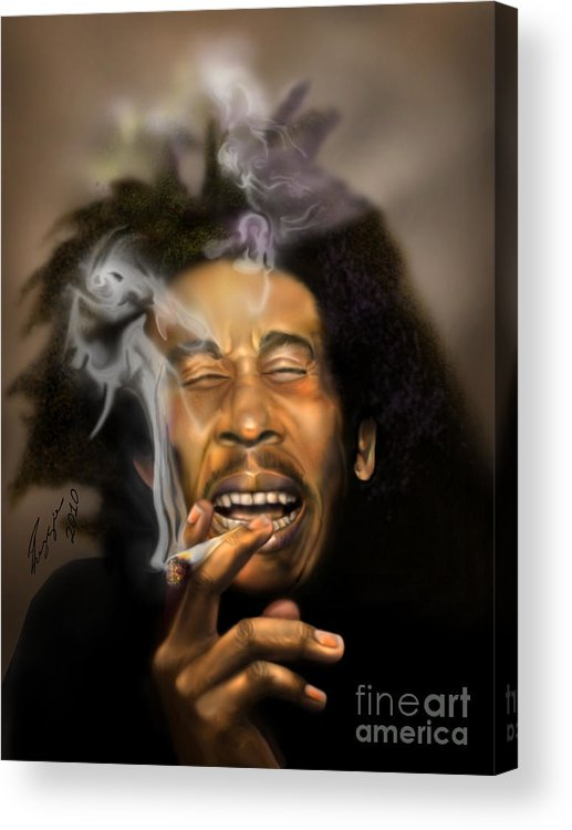 Bob Marley Acrylic Print featuring the painting Bob Marley-burning Lights 3 by Reggie Duffie