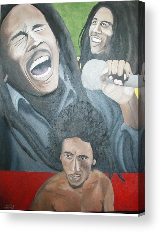 Portrait Acrylic Print featuring the painting Bob Marley Montage by Angelo Thomas