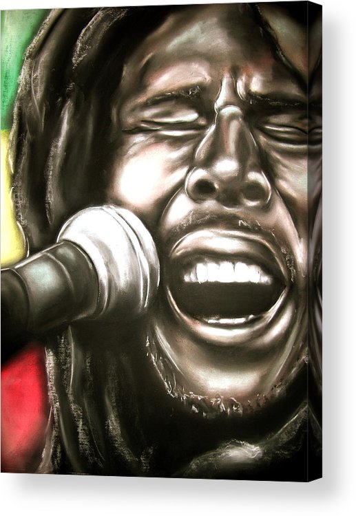 Bob Acrylic Print featuring the drawing Bob Marley by Zach Zwagil