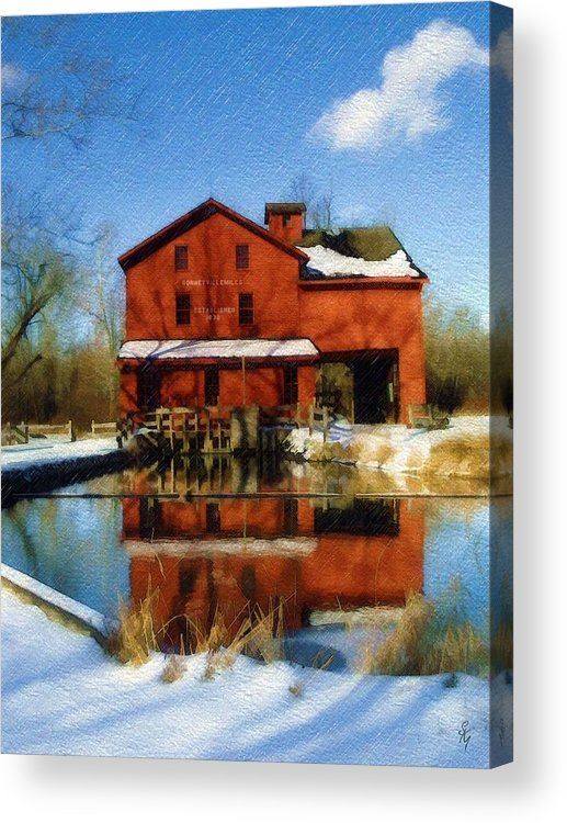 Bonneyville Mill Acrylic Print featuring the photograph Bonneyville In Winter by Sandy MacGowan