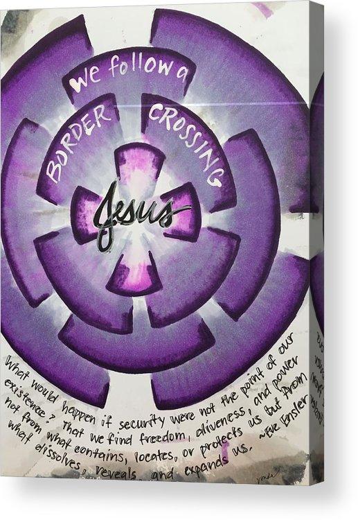 Jesus Acrylic Print featuring the painting Border-crossing Jesus by Vonda Drees
