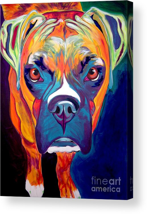 Boxer Acrylic Print featuring the painting Boxer - Harley by Alicia VanNoy Call