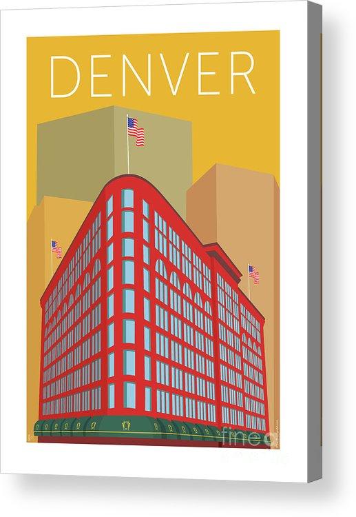 Denver Acrylic Print featuring the digital art Denver Brown Palace/gold by Sam Brennan
