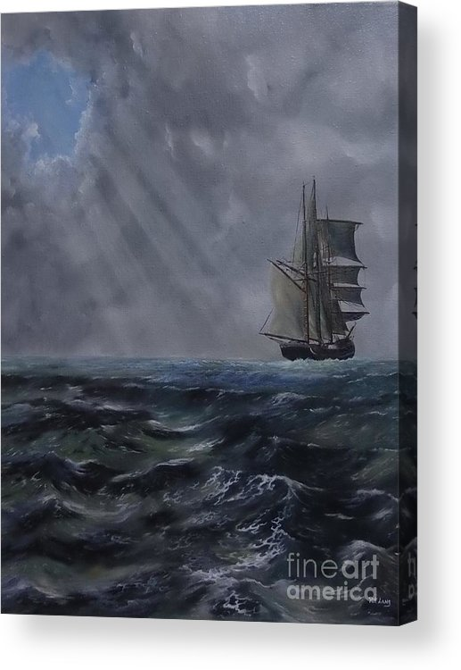 Ship Acrylic Print featuring the painting Breakthrough by Patricia Lang