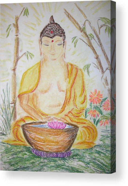 Budha Acrylic Print featuring the mixed media Budha by Carol Frances Arthur