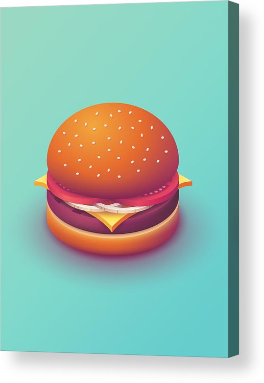 Burger Acrylic Print featuring the digital art Burger Isometric - Plain Mint by Ivan Krpan