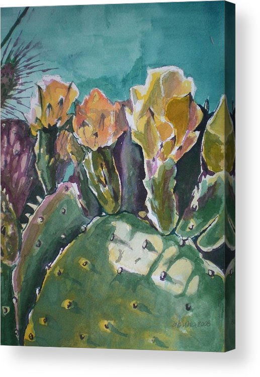 Desert Acrylic Print featuring the painting Cactus Blossoms In Desert by Aleksandra Buha