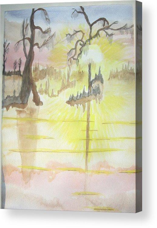 Landscape Watercolor Acrylic Print featuring the painting Cajun Sunrise by Warren Thompson