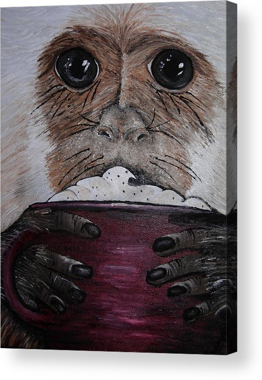 Capuchin Acrylic Print featuring the painting Capuchino by Sharon Supplee