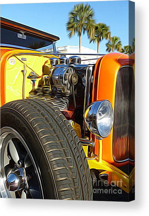 Hot Rod Acrylic Print featuring the digital art Cars - 1932 Ford Roadster Hot Rod - Engine And Tire Close Up by Jason Freedman