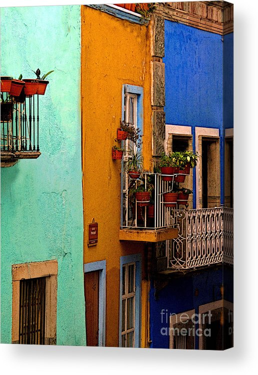 Darian Day Acrylic Print featuring the photograph Casas In Mint Terracotta And Blue by Mexicolors Art Photography