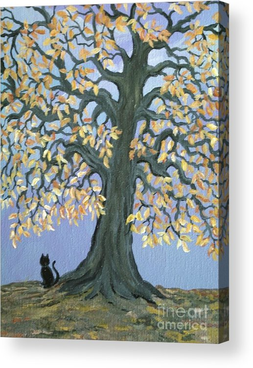 Cat Acrylic Print featuring the painting Cat And Crow by Nick Gustafson