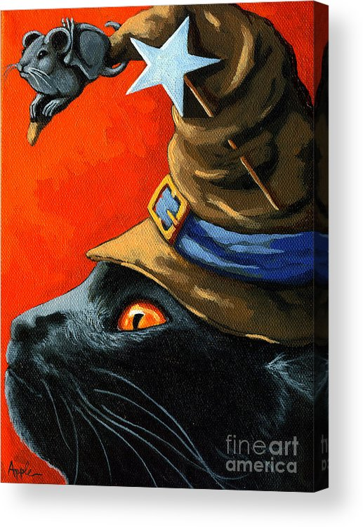 Black Cat Acrylic Print featuring the painting Cat In The Hat With Company by Linda Apple