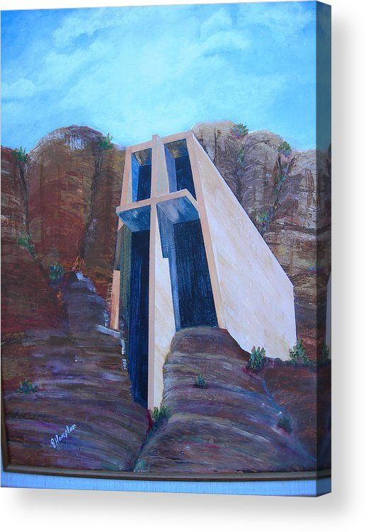Landscape Acrylic Print featuring the painting Chapel In The Mountains by Jack Hampton