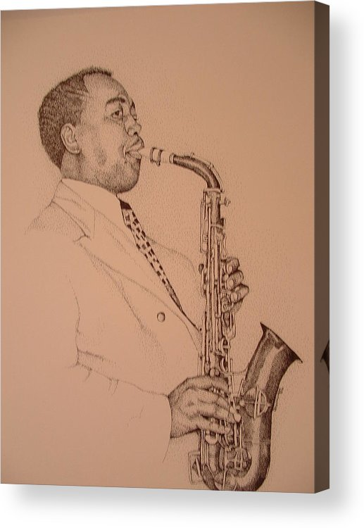 Sax Player Acrylic Print featuring the drawing Charlie Parker by Leonard R Wilkinson