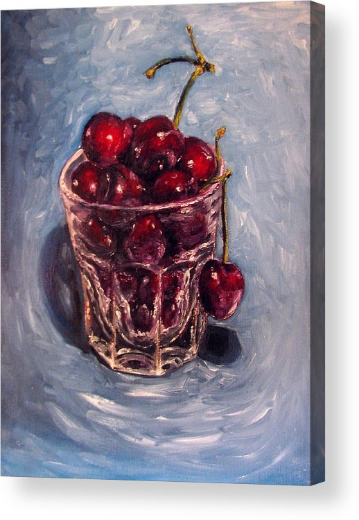 Red Acrylic Print featuring the painting Cherries Original Oil Painting by Natalja Picugina