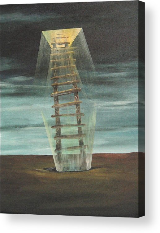 Surrealism Acrylic Print featuring the painting Chickasaw's Ladder by K Hoover