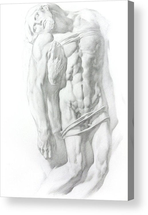 Nude Acrylic Print featuring the drawing Christ 1 by Valeriy Mavlo