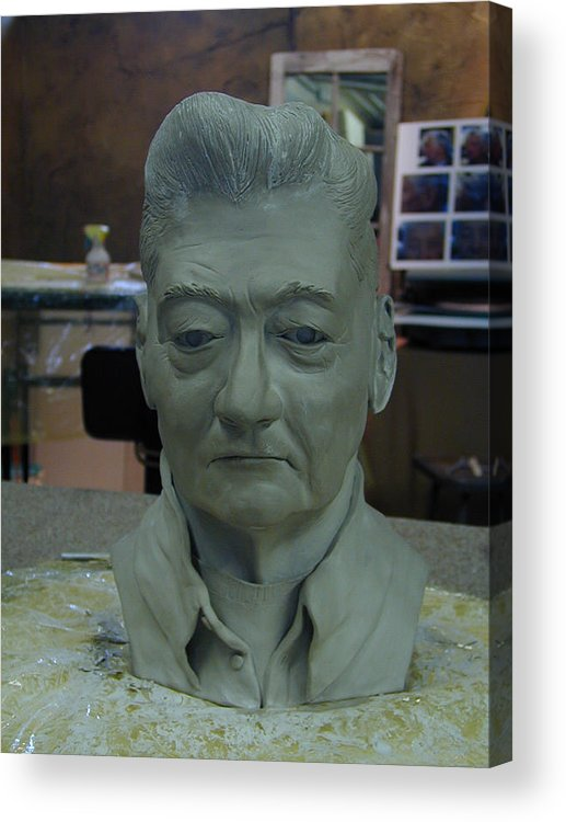 Portrait Sculpture Of An Elderly Man Acrylic Print featuring the sculpture Clay Sculpture Of Gerald Simpson by Terri Meyer