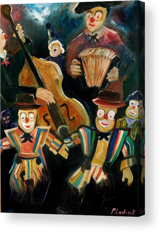 Clowns Circus Acrylic Print featuring the print Clowns by Pol Ledent
