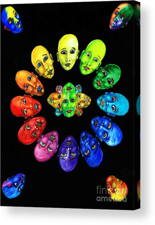 Color-wheel Color Theory Acrylic Print featuring the drawing Colorful Minds by Michael Cook