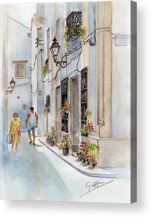 Street Corner Acrylic Print featuring the painting Colourful Corner In Spain by Mai Griffin