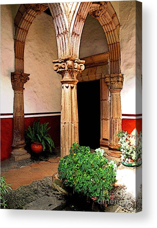 Patzcuaro Acrylic Print featuring the photograph Column And Pilasters by Mexicolors Art Photography
