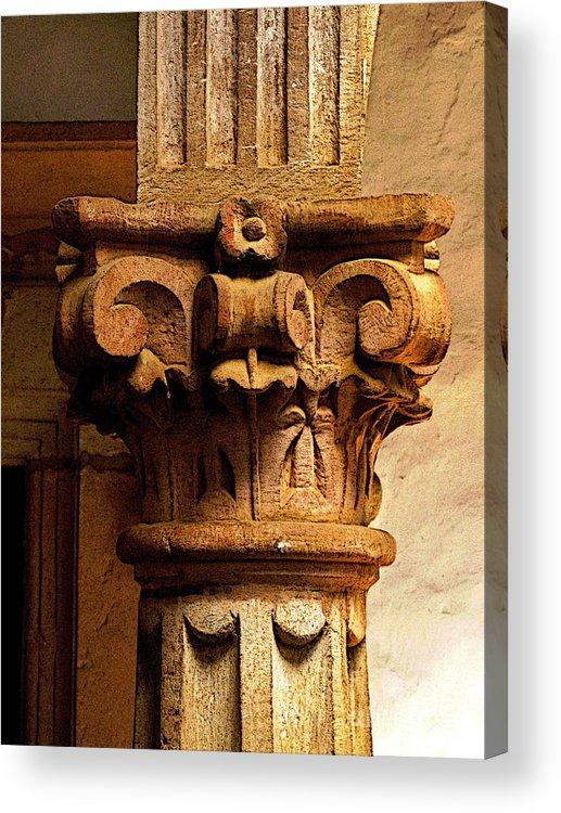 Patzcuaro Acrylic Print featuring the photograph Column's Capital by Mexicolors Art Photography