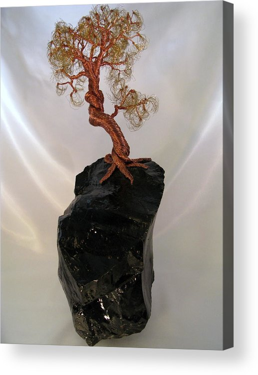 Metal Tree Acrylic Print featuring the mixed media Copper-brass-black Glass by Judy Byington