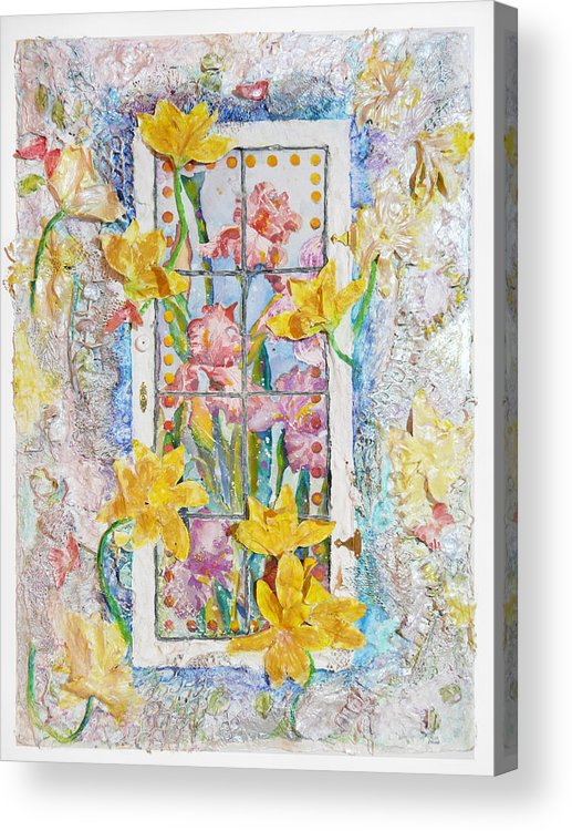 Flowers Cottage Window Framed Watercolor Deccoulage 3d Pastel Texured Butterfly Sunny Acrylic Print featuring the painting Cottage Window by Carole Overall