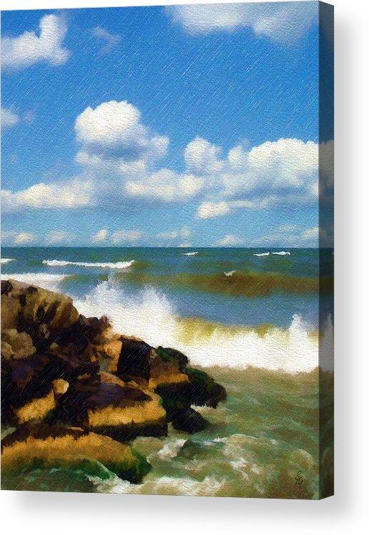 Seascape Acrylic Print featuring the photograph Crashing Into Shore by Sandy MacGowan