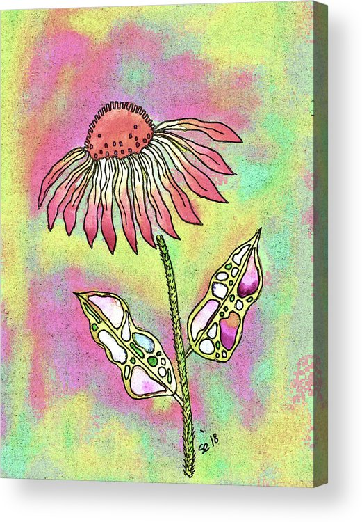 Watercolor And Ink Acrylic Print featuring the painting Crazy Flower With Funky Leaves by Susan Campbell