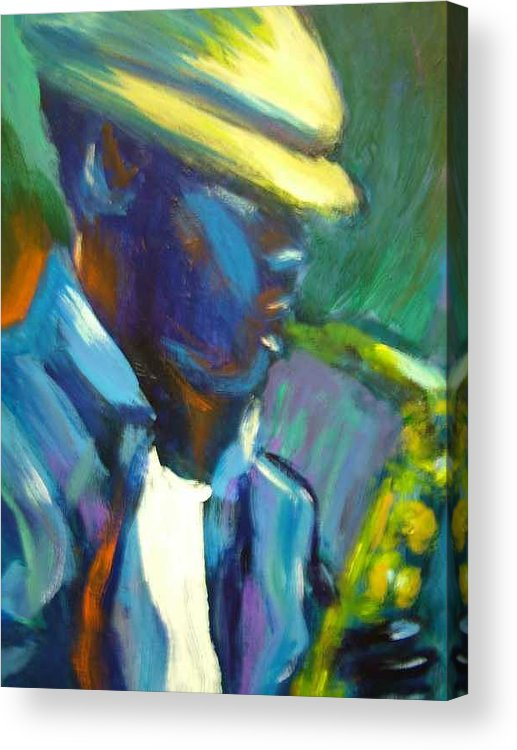 Sax Player Acrylic Print featuring the painting D by Jan Gilmore