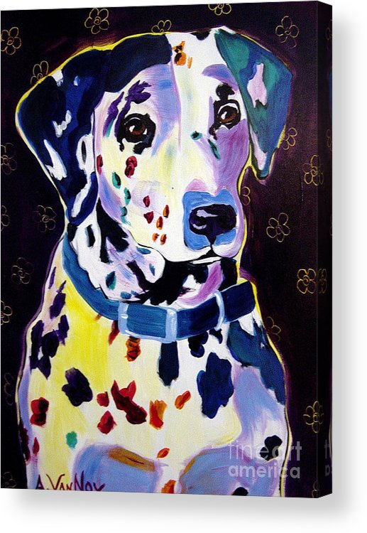 Dog Acrylic Print featuring the painting Dalmatian - Dottie by Alicia VanNoy Call