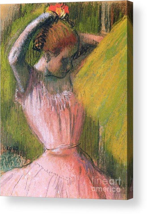 Ballerina; Drawing; Hairstyle; Pink Tutu; Ballet; Rehearsal; Rehearsing; Impressionist; Edgar Degas Acrylic Print featuring the pastel Dancer Arranging Her Hair by Edgar Degas