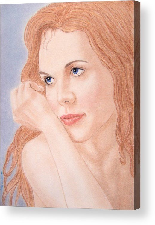 Woman Acrylic Print featuring the drawing Daydreams by Nicole I Hamilton