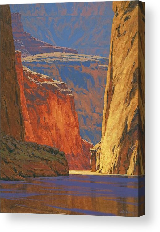 Grand Canyon Acrylic Print featuring the painting Deep In The Canyon by Cody DeLong