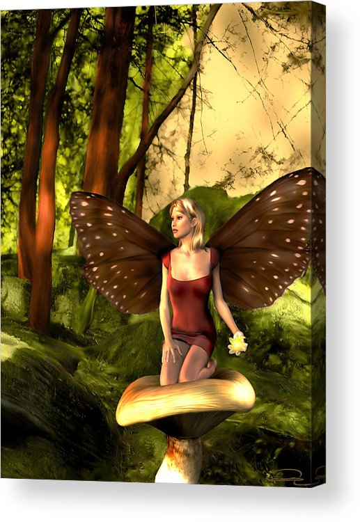 Fairy Acrylic Print featuring the painting Deep In The Forest by Emma Alvarez